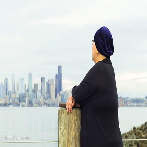 Woman-Views-City-Cancer-Chemotherapy